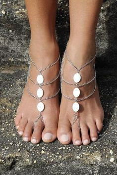 Eclipse Barefoot Sandals - Silver- Bridesmaid shoes, barefoot bride, beach wedding, wedding shoes, beach shoes, anklets, shell jewellery, shell jewelry.  Discount code: FSPINTEREST