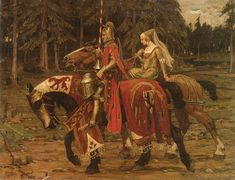 Image detail for -Fabulous Medieval Regency Print of Knight and Lady on Horseback ...