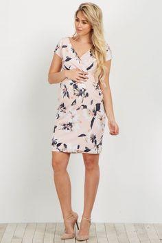 cea8c408d2a Light Pink Floral V Neck Fitted Maternity Dress