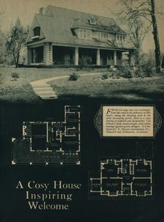 A book of artistic homes shown in rotogravure: illustrating the work of many of the most prominent small house architects in America Lake House Plans, Dream House Plans, House Floor Plans, Different House Styles, House Plans With Pictures, Architectural House Plans, Architectural Drawings, Vintage House Plans, Vintage Houses