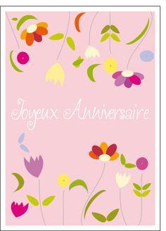 Carte Joyeux anniversaire tout en fleures pour envoyer par La Poste, sur Merci-Facteur !