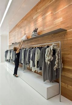 Retail store display - want your retail store to have wood walling but don't want the expenses? Use our Flash frames to create a wall covering of your choice.