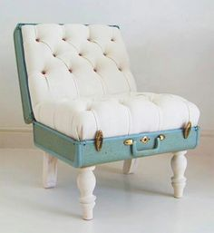 Suitcase decor.  Love it! ha :) Okay I could figure something out if I couldn't find a real chair