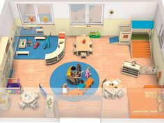 Toddler Daycare Rooms, Infant Toddler Classroom, Home Daycare, Preschool Furniture, Preschool Rooms, Classroom Furniture, Daycare Room Design, Classroom Design, Kindergarten Interior