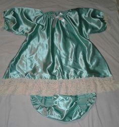 ADULT BABY SISSY MINT SATIN DRESS & DIAPER PANTIES CROSSDRESSER ANIME COSPLAY | eBay