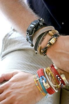 Bracelets and wristbands are a favorite collection of mine...in moderation, or like this, I love the look:-)