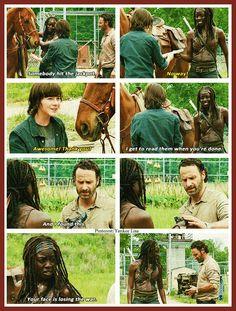 Michonne - Danai Gurira, Carl Grimes - Chandler Riggs, Rick Grimes - Andrew Lincoln - AMC's The Walking Dead