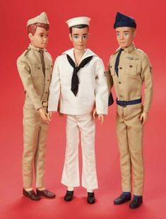 The Fabulous Fifties - Modern Dolls: 363 A Trio of Ken and Allan in Army,Navy and Air Force Uniforms by Mattel Ken Barbie Doll, Play Barbie, Barbie Dream, Barbie Collector, Mattel Barbie, Barbie And Ken, Barbie Clothes, Guys And Dolls, Barbie Accessories