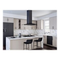 Zephyr - Core Collection Ravenna Convertible Range Hood - Black Stainless Steel With Smoke Gray Glass Black Appliances Kitchen, Kitchen Island Range, Kitchen Remodel, Kitchen Design, Kitchen Island Vent, Range Hood, Black Kitchen Island, Kitchen Style, Kitchen Island With Stove