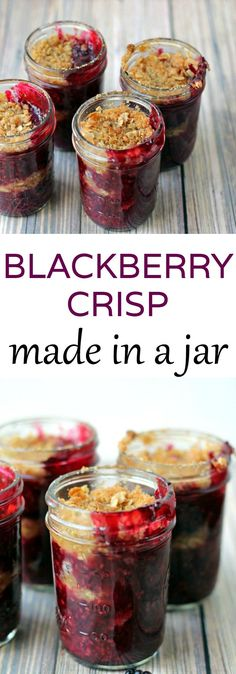 Crisp in a Jar Homemade Blackberry Crisp that's made in jars!Homemade Blackberry Crisp that's made in jars! Crisp in a Jar Homemade Blackberry Crisp that's made in jars!Homemade Blackberry Crisp that's made in jars! Mason Jar Pies, Mason Jar Desserts, Mason Jar Meals, Meals In A Jar, Mini Desserts, Just Desserts, Delicious Desserts, Dessert Recipes, Yummy Food