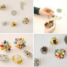 Pop off the backs of jeweled earrings or broaches with wire cutters, attach a magnet or thumb tack with super glue.