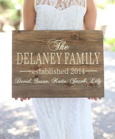 Love this Walnut & Cream Personalized Family Sign by Morgann Hill Designs on #zulily! #zulilyfinds
