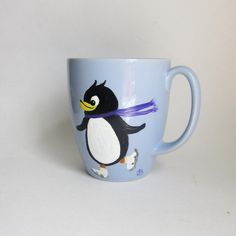 Whimsical Penguin Hand-painted Light Blue Coffee Mug by JasminesTreasuresLLC on Etsy