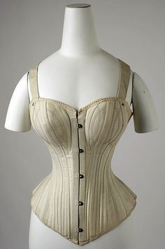 "Corset  Date: 1890s Culture: American  [imprint] ""Dr. Warner's Caroline Health/None genuine without this stamp/Patented May 14, 1889/Long Waist"" [label] (on box) ""La Reine du Boudoir/F.P./San Vous Je Ne Suis Rien"""