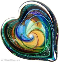 Hearts of Fire Paperweights by the Glass Eye Studio