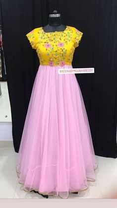Stunning yellow and blush pink color combination floor length dress with floral design hand embroidery thread work on yoke. For Orders/Enquries: whats App : 9704936280 . Long Gown Dress, Lehnga Dress, Lehenga, Long Frock, Sarees, Wedding Saree Blouse Designs, Fancy Blouse Designs, Long Gown Design, Frock Models