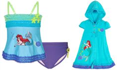 Disney Little Mermaid Princess Ariel Swimsuit Set two pieces swimsuit and hooded cover up