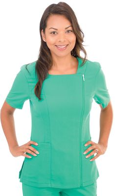Excel Uniform - Light Green Zippered Top - this scrub is 4-way stretch, making a great choice as a nursing uniform.#WorkWear #CustomizedUniforms #Uniforms #Quality #Comfort #scrubs