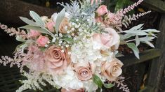 hydrangea, seeded eucalyptus ,rose, astilbe, baby's breath bouquet
