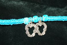 Blue Handcrafted Hemp with 3 Glass Beads and 2 Metal Heart Charms w/ Metal Charm #Handmade #NewAge