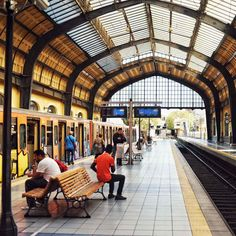 The train station at Piraeus Safest Places To Travel, Great Places, Athens Metro, Travel Insurance Quotes, Greece Photography, Colourful Buildings, Destin Beach, Ancient Ruins, Athens Greece