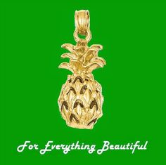 Pineapple Tropical Fruit Textured 14K Yellow Gold Pendant Charm