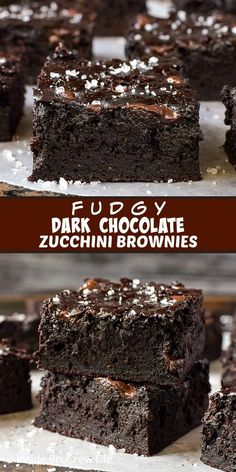 Fudgy Dark Chocolate Zucchini Brownies Recipe Fudgy Dark Chocolate Zucchini Brownies – shredded zucchini and dark chocolate make these homemade brownies taste amazing. Try this easy recipe with the extra veggies from your garden. Healthy Dessert Recipes, Delicious Desserts, Baking Recipes, Healthy Chocolate Desserts, Vegan Chocolate, Dark Chocolate Recipes, Healthy Sweet Snacks, Healthy Deserts, Healthy Sweets