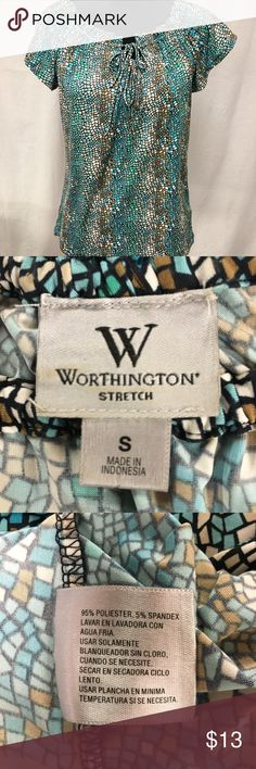 Worthington top Very nice printed top with drawstring neckline Worthington Tops