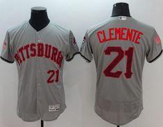 Pirates #21 Roberto Clemente Grey Fashion Stars & Stripes Flexbase Authentic Stitched MLB Jersey