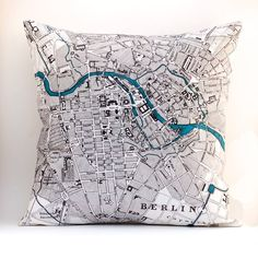"""Vintage Map of Berlin via saltlabs (etsy)    Saltlabs' pillows are original in design, and beautifully hand made, using eco-friendly textiles and printing methods.  * front fabric is a linen/cotton blend  * reverse fabric is 100% linen, color coordinated to front design  * invisible zipper in bottom seam  * serged seams and edges  * approx. size: 18""""x 18"""""""