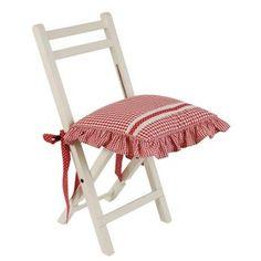 Clayre & Eef Stuhlkissen Sitzkissen Kissenbezüge rot weiß kariert Flower Basket Landhausstil romantisch 40 x 40