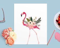 Floral Flamingo Printable Wall Art, Pink Flamingo Girl Nursery Print, Flamingo Party Decor, Flamingo Wall Poster, Let's Flamingle Floral Art by RightWordRightTime on Etsy https://www.etsy.com/listing/264140802/floral-flamingo-printable-wall-art-pink