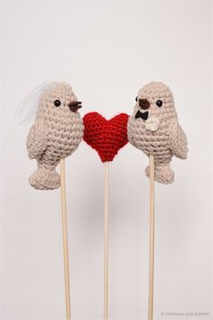 No 10  Crochet bird wedding cake topper  by HannahAspensbridal, $28.00
