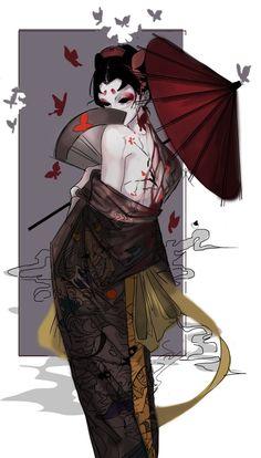 Female Characters, Anime Characters, Japanese Horror, Geisha Art, Japanese Artwork, Japon Illustration, Arte Obscura, Identity Art, Japan Art