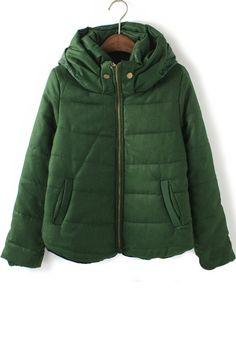 Green Plain Zipper Pockets Cotton Blend Padded Coat
