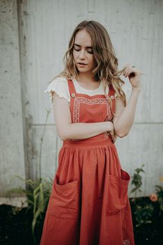 THE CLEMENTE EMBROIDERED JUMPER DRESS IN LIPSTICK