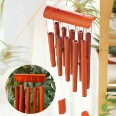 casa decoração de bambu retangular de madeira vento ornamento de jardim…