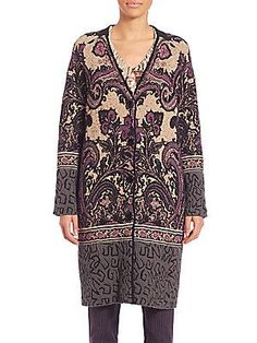 Etro Intarsia V-Neck Knit Coat