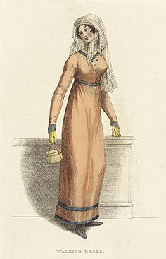 La Belle Assemblee, Walking Dress, January 1813. The bodice of this dress is distinctly…odd?  I really like the color combination and the banded trim, but I just can't decide if I like it or not…