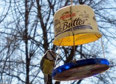 DIY bird feeder with repurposed elements