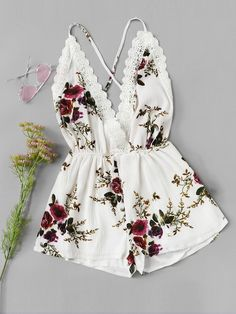 Shop Lace Panel Open Back Floral Cami Romper online. SheIn offers Lace Panel Open Back Floral Cami Romper & more to fit your fashionable needs. Teenage Outfits, Teen Fashion Outfits, Outfits For Teens, Girl Outfits, Cute Summer Outfits, Cute Casual Outfits, Spring Outfits, Casual Dresses, Jugend Mode Outfits