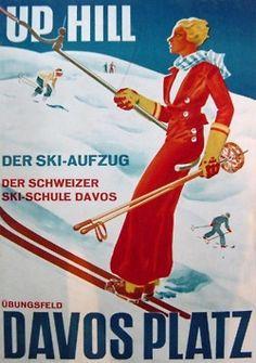 vintage ski poster - Davos Platz
