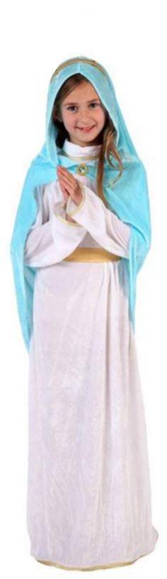 Disfraz de Virgen María Niña Navidad: Este disfraz de virgen María para niña incluye un vestido, una capa/ capucha, una diadema y un cinturón. El vestido es largo de de color blanco con efecto aterciopelado y...