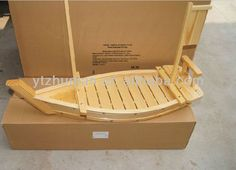 Fashionable elegant wooden sushi boat