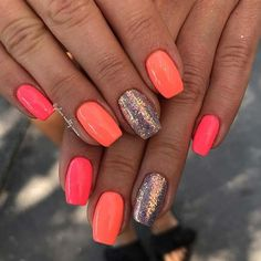 43 Neon Nail Designs That Are Perfect for Summer Simple Pink, Orange and Glitter Neon Nails Neon Coral Nails, Bright Summer Acrylic Nails, Summer Gel Nails, Coral Acrylic Nails, Summer Holiday Nails, Summery Nails, Summer Nails Almond, Neon Nail Art, Pink Gel Nails