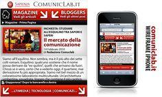 """Ideazione e Progettazione grafica Wireframe (Iphone) """"www.comuniclab.it (Roma - Università degli Studi 'La Sapienza')"""""""