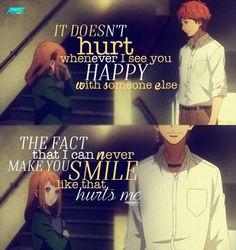 Traduction FR : C'est pas le fait que tu sois heureuse avec quelqu'un d'autre qui me fait mal, mais c'est le fait que je ne pourrais jamais te faire sourire comme ça qui me fait mal. || Orange