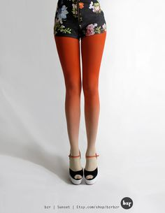 bzr Ombré tights in Sunset by BZRshop on Etsy, $45.00