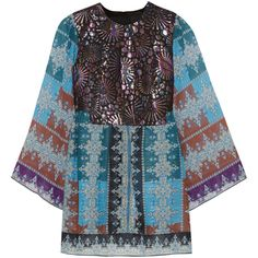 Anna Sui Metallic jacquard and printed chiffon tunic ($280) ❤ liked on Polyvore featuring tops, tunics, teal, anna sui, multi color tops, chiffon tops, anna sui top and colorful tops