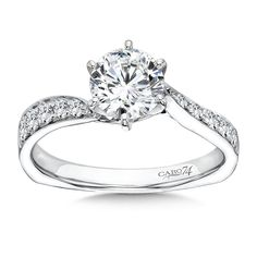 Caro74   Classic Elegance Collection Criss Cross Diamond Engagement Ring in 14K White Gold   1ct. tw.